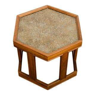 1960s John Keal for Brown Saltman Hexagonal Walnut Side Table For Sale