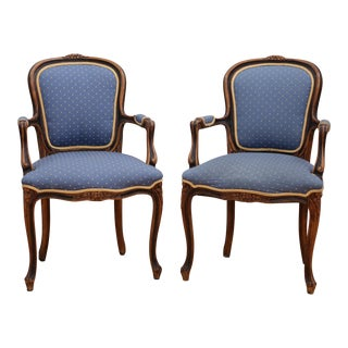 Antique French Louis XV Bergere Chairs - A Pair