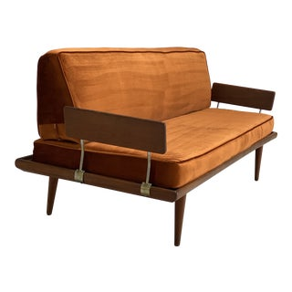 Mid Century Reupholstered Velvet and Teak Peter Hvidt Daybed For Sale