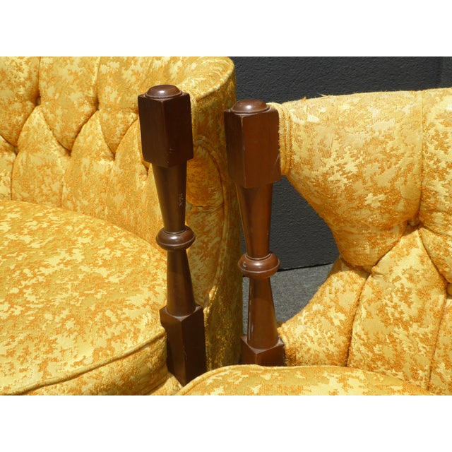 1960s Vintage Stacey House Atomic Era Gold Club Chairs - a Pair Mid Century Modern For Sale - Image 10 of 13