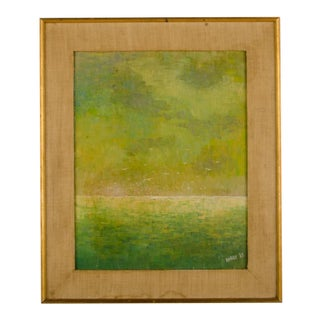 """1960s """"Flock of Seagulls"""" Abstract Oil Painting, Framed For Sale"""