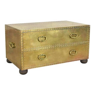Vintage 1960s Sarreid Spain Brass and Copper Trunk or Low Chest of Drawers For Sale