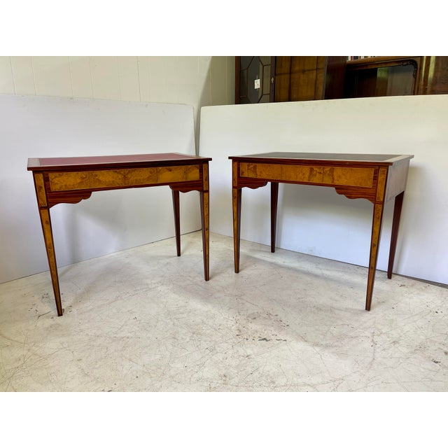 Pair of Italian Burl Wood Writing Tables For Sale - Image 11 of 13