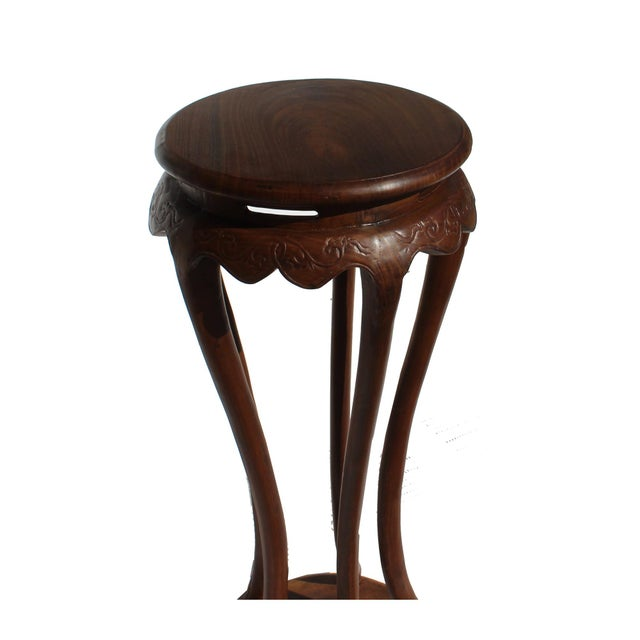 2010s Chinese Brown Tall Round 5 Legs Plant Stand Pedestal Table For Sale - Image 5 of 7