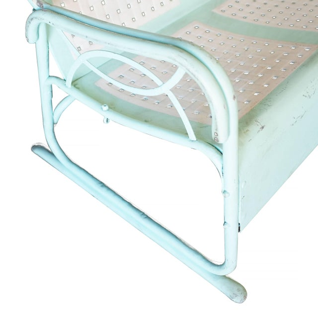 Mid-Century Woodard style three person outdoor garden lounge made from a stamped sheet metal seat and a tubular steel...