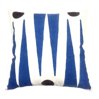 Contemporary Trikon Blue Cotton Pillow For Sale