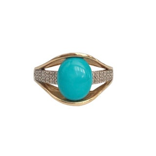 Mexican 14k Gold Persian Turquoise Diamond Ring For Sale