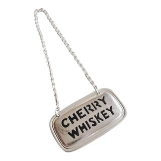 Vintage Tiffany & Co Sterling Liquor Decanter Tag - Cherry Whiskey For Sale