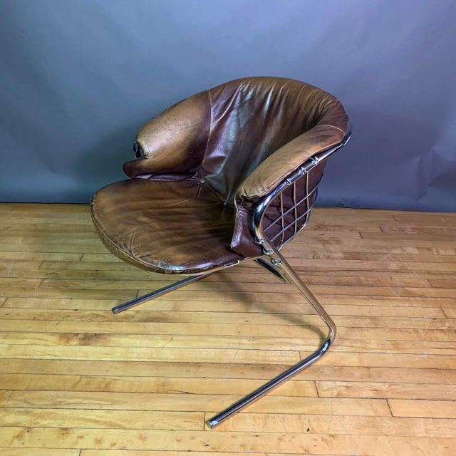 RIMA Gaston Rinaldi 1970s Leather Wireframe Armchair, Rima Italy For Sale - Image 4 of 12