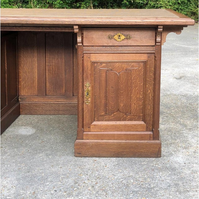 19th Century Gothic Oak Executive Desk For Sale - Image 11 of 13