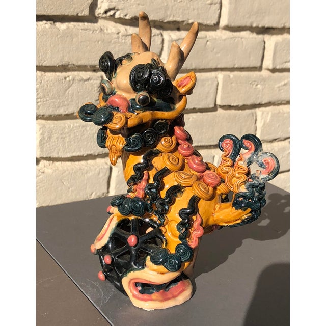 Ceramic Multicolored Vibrant Vintage Clay Ceramic Chinoiserie Foo Dog Lion Dragon For Sale - Image 7 of 7