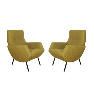 1960s Pair of Armchairs, Wrought Iron, Brass, Mottled Yellow Fabric, Italy For Sale