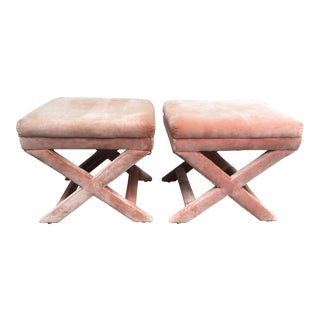 Vintage Mid-Century Weiman& Warren Lloyd X-Base Footstools- a Pair For Sale