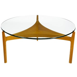 Sven Ellekaer Danish Teak Reverse Trefoil Floating Glass Top Coffee Table For Sale