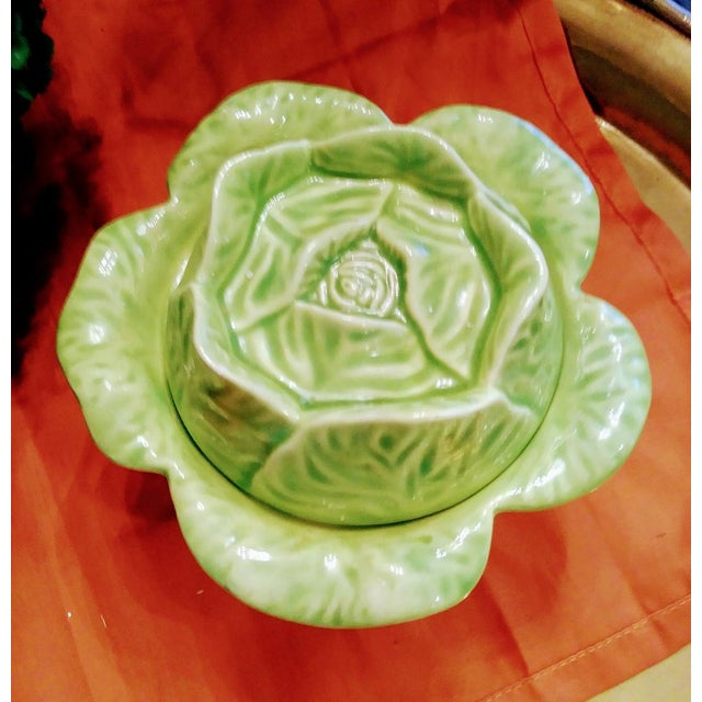 Small and Sweet Ceramic Green Cabbage Sugar Bowl Server For Sale In West Palm - Image 6 of 6