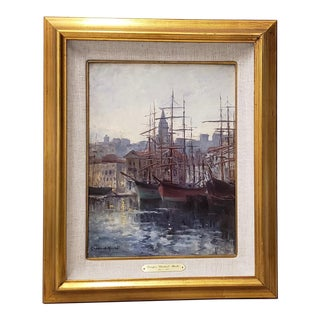 Port of Marsielles by Georges Chenard-Huche (French, 1864-1937) Circa 1905 For Sale