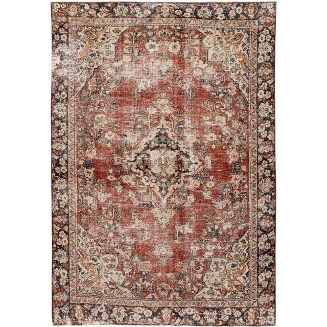 "Apadana-Antique Persian Distressed Rug, 6'6"" X 9'1"" For Sale"