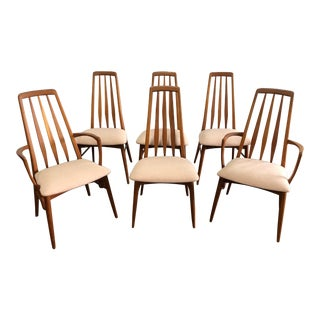 Vintage Mid Century Niels Koefoed Hornslet Mobelfabrik Eva Dining Chairs- Set of 6 For Sale