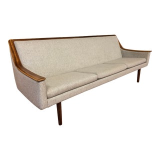 Vintage Rosewood Trim Sofa With Wool Upholstery For Sale