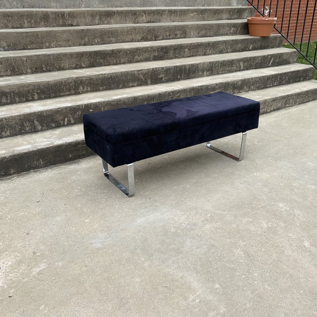 1980s Mid Century Chrome Bench With Storage For Sale - Image 9 of 10