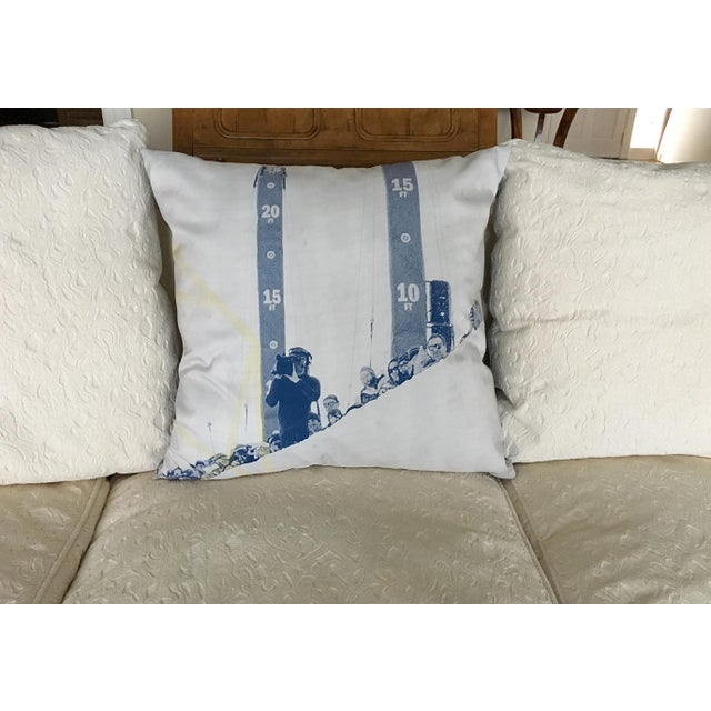 Contemporary Blue & White Photorealism Pillow For Sale - Image 3 of 7