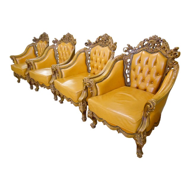 1930s Hand Carved Leather Chairs - Set of 4 For Sale
