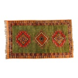 Image of Vintage Moroccan Tribal Green and Orange Rug For Sale