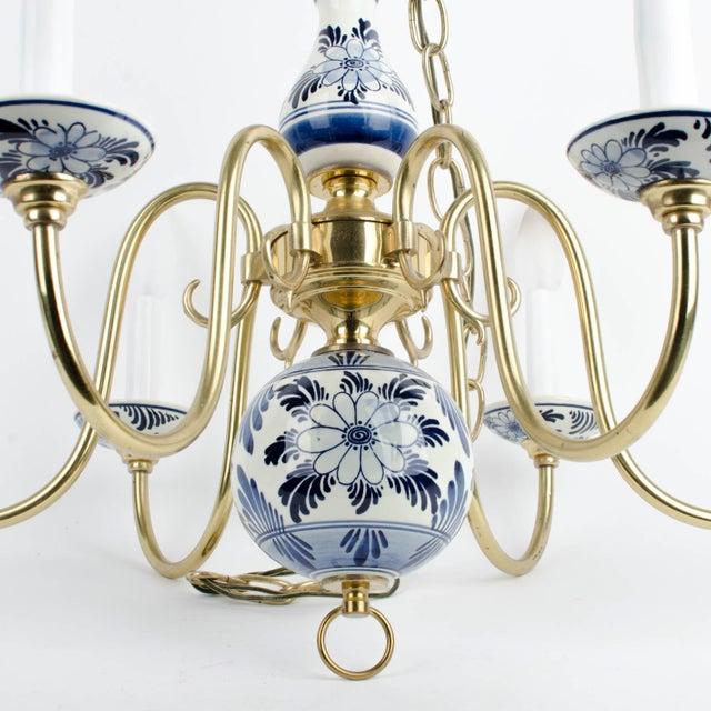 Mid-Century Modern Delft Blue & White Ceramic 6 Light Chandelier For Sale - Image 3 of 5