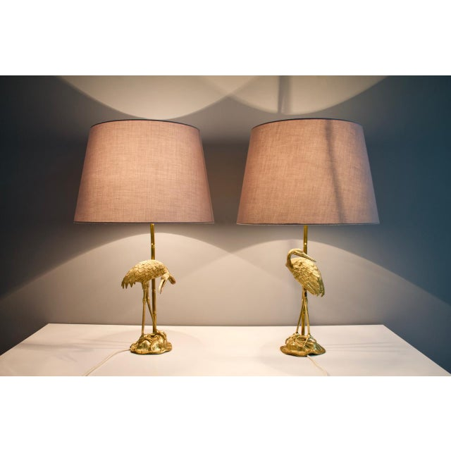 Pair of Crane Brass Table Lamps 1970s For Sale - Image 4 of 10