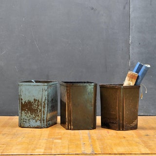Industrial Age Machine Pressed Factory Office Wastebaskets Steel Trash Cans Preview