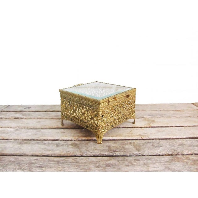 Art Nouveau Vintage Gold Ormolu Jewelry Casket Ring Box For Sale - Image 3 of 9