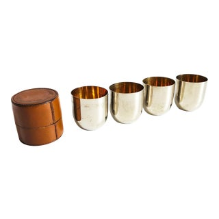 Vintage Metal Travel Shot Glasses in Leather Case For Sale