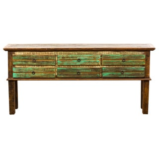 Reclaimed Wood 6-Drawer Console Table