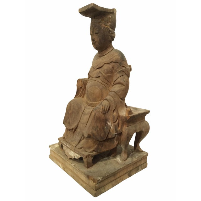 Brown 1940s Raw Carved Wood Taiwanese Deity Statue For Sale - Image 8 of 13
