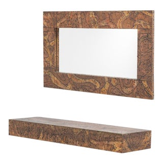 Embossed Patinated Aluminium Mirror and Shelf by Arenson For Sale