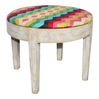 Vintage Rainbow Chevron Side Table For Sale