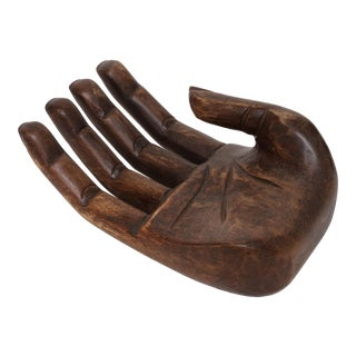 Vintage Hand Carved Solid Wood Hand Sculpture Tray