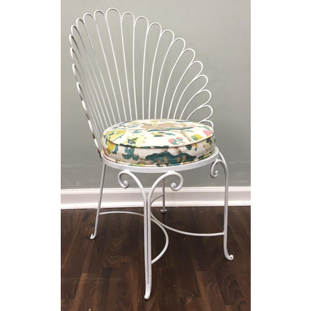 Hollywood Regency Shell Back Metal Side Chair - Image 2 of 8