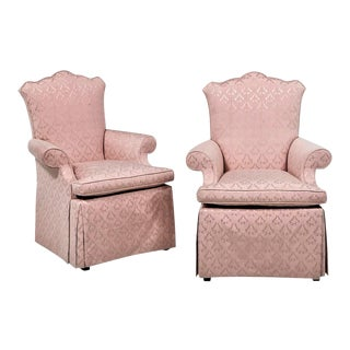 Baker Furniture Skirted Armchairs - a Pair For Sale