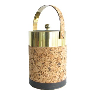 Vintage Georges Briard Cork, Brass, and Vinyl Ice Bucket For Sale