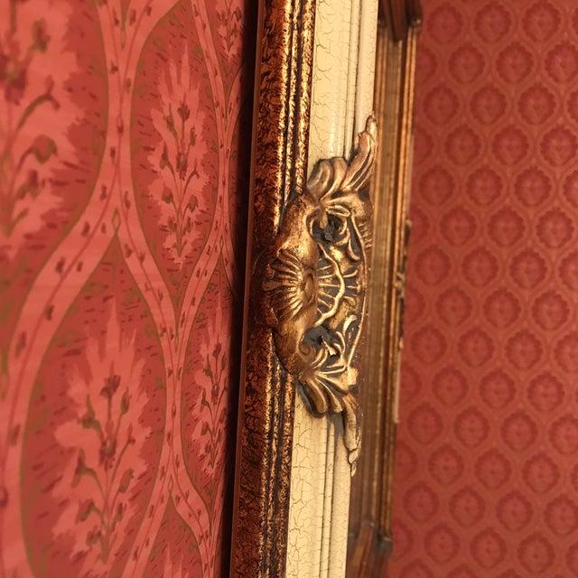 Vintage Carved Crackled Wood & Burnished Gold Mirror - Image 7 of 8