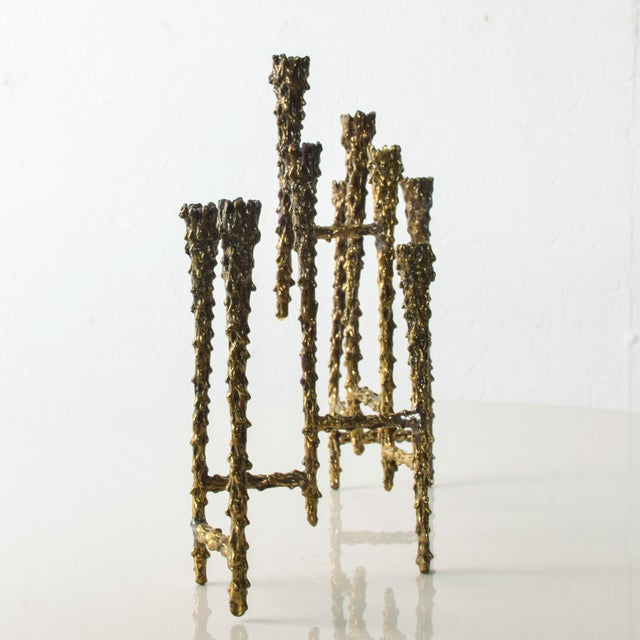 Metal Midcentury Modern Brutalist Tiered Brass Candle Holder For Sale - Image 7 of 11