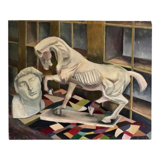 1940s Vintage Horse Bust Still Life Oil Painting For Sale