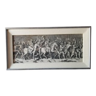 Early 20th Century Antique Medieval Soldiers and Slaves Black and White Engraving Print For Sale