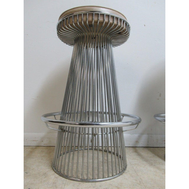 Vintage Chrome Wire Cone Bar Stools - A Pair - Image 8 of 11