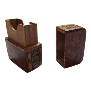 Tunbridge Ware Burr Elm Card Box