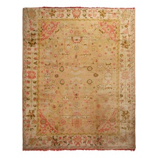 Vintage Beige and Pink Floral Wool Rug with Tree of Life Patterns For Sale