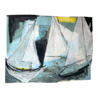 Sailing in the Regatta Along the Maine Coast Painting on Paper For Sale