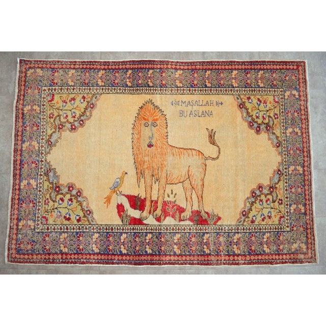 """Antique Turkish Rug Lion Pattern Hand Knotted SuperLow Pile Wool Wall & Area Rug Rare Piece- 4'1"""" X 6' For Sale - Image 11 of 11"""