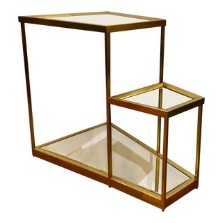 Caracole Prototype Brass and Mirror Wedge Side Table For Sale